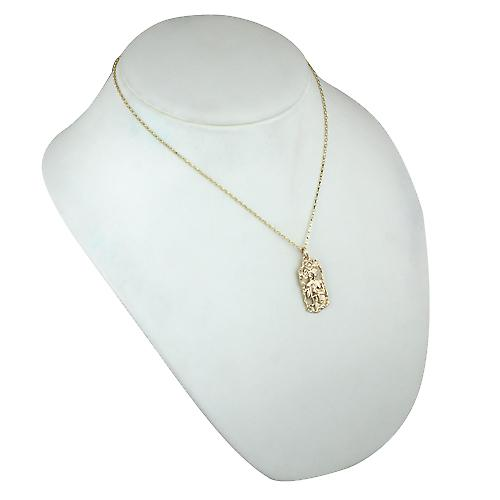 9ct Gold 33x17mm Libra Zodiac Pendant with a belcher Chain 18 inches