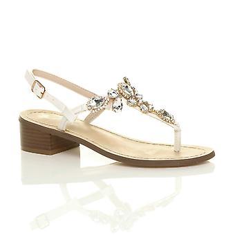 Ajvani womens low mid block heel buckle t-bar gem diamante toe post sandals