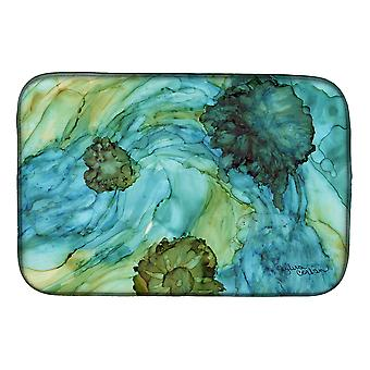 Carolines Treasures  8952DDM Abstract in Teal Flowers Dish Drying Mat