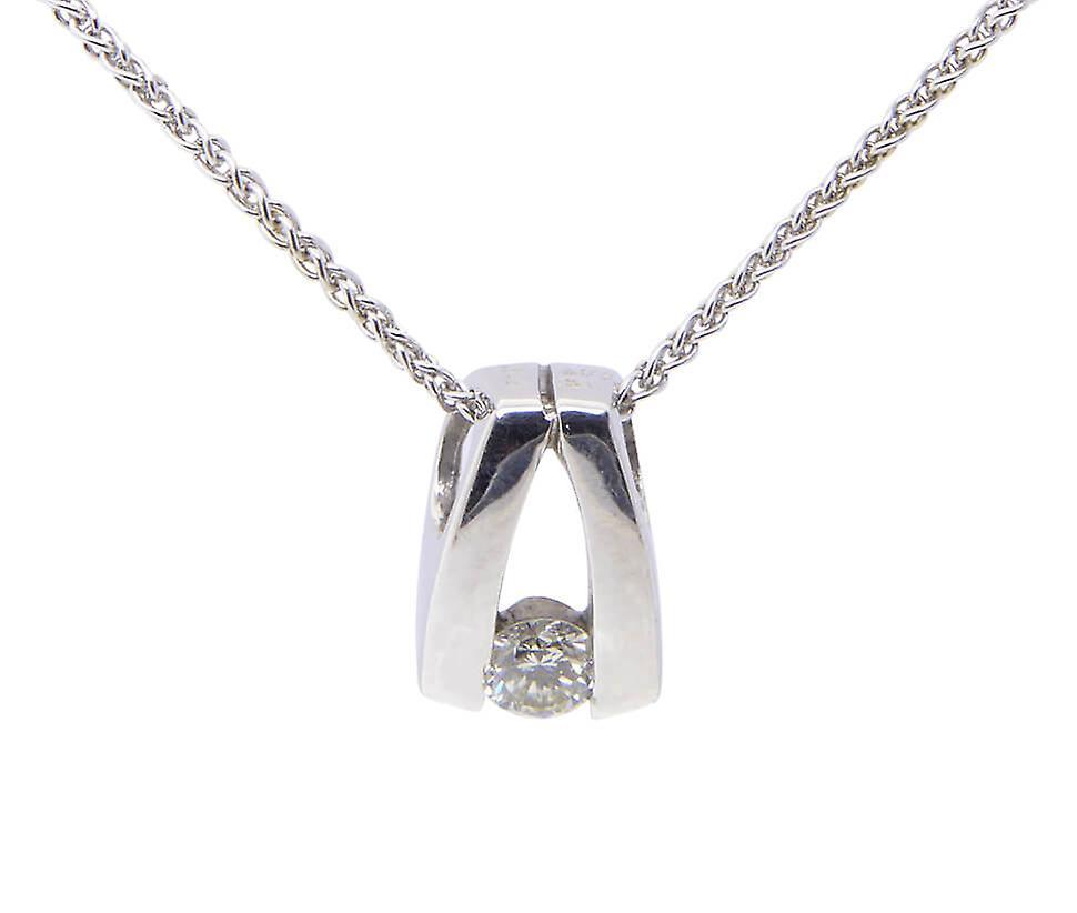 Wit gouden chaton hanger met diamant