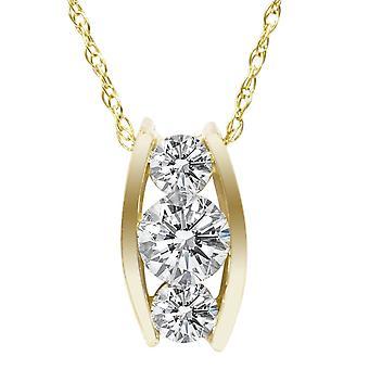 1 / 2ct drei Stein 3 Diamant-Anhänger 14K Gelbgold