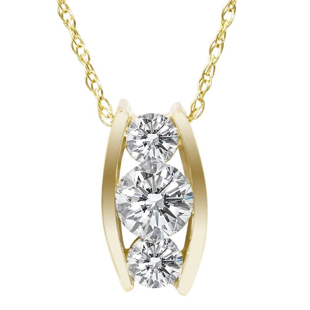1 2ct Three Stone 3 Diamond Pendant 14K jaune or