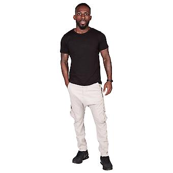 Men's Carrot Fit Tapered Cargo Trousers - Stone Mens Combat Pants Fashion Trouse