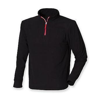 Finden & Hales Mens 1/4 Zip Long Sleeve Casual Piped Fleece Jacket