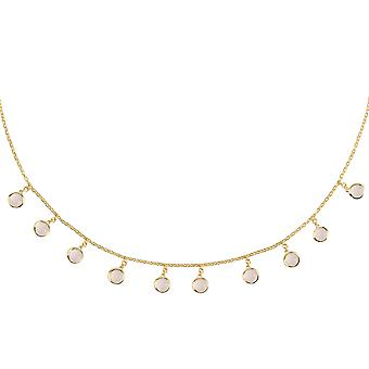 Latelita Gemstone Choker Round Necklace Gold Pink Rose Quartz Sterling Silver