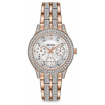 Bulova Womens Rose Gold Tone Crystal 98N113 Watch