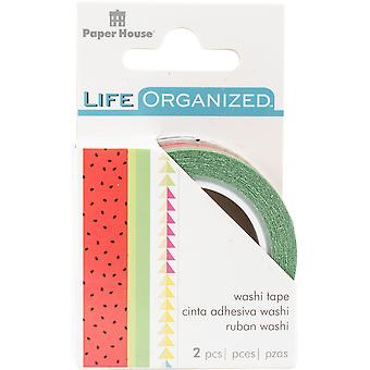Paper House Life Organized Washi Tape 5Mm & 15Mm 10M Each-Summer Fun W/Gold Foil