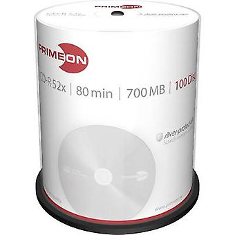 Blank CD-R 80 700 MB Primeon 2761103 100 pc(s) Spindle Silver matte surface