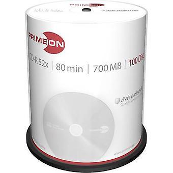 Primeon 2761103 blanco CD-R 80 700 MB 100 PC (s) spindel zilver mat oppervlak