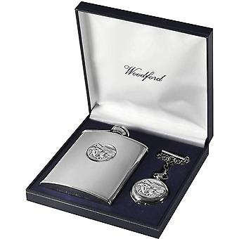 Woodford Horse Racing 6oz Hip Flask and Pocket Watch Set - Silver