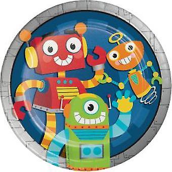 Robot plate 23Ø 8 piece children birthday theme party party birthday