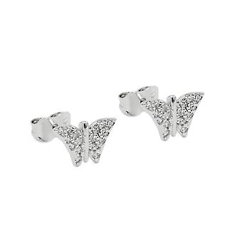 Spina 6x9mm zirconi 9Kt white gold Butterfly