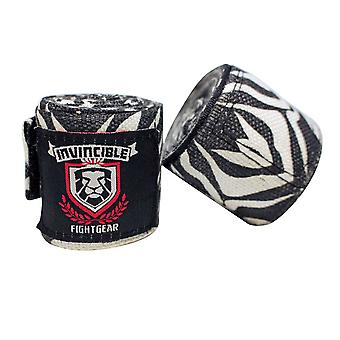 Adult 180in  4.5 Meters Mexican Style Semi-Elastic Hand Wraps with Zebra Pattern for Boxing Kickboxing Muay Thai MMA Classes, Gym, or Home Workouts Men, Women, Adults (1 Pair) Zebra Pattern