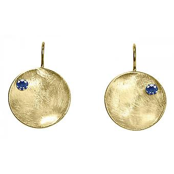 Ladies earrings 925 silver plated Bowl Iolite Blau 3 cm