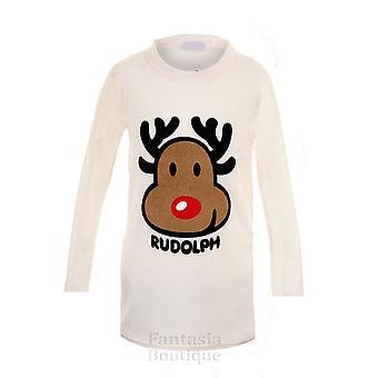 Children's Long Sleeve Rudolf Reindeer Christmas Kid's Winter Warm Fleece Jumper