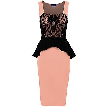 Ladies Sleeveless Belted Lace Contrast Women's Wrap Peplum Bodycon Dress
