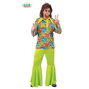 Guirca hippie costume with colorful icons for men's Green Carnival themed party Woodstock