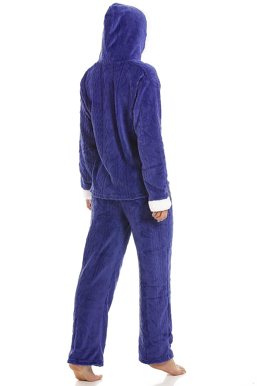dcd8319e4fd7 Camille Luxury Navy Blue Supersoft Fleece Hooded Pyjama Set