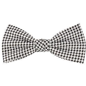 Knightsbridge Neckwear Dogtooth vérifié soie noeud papillon - noir/blanc