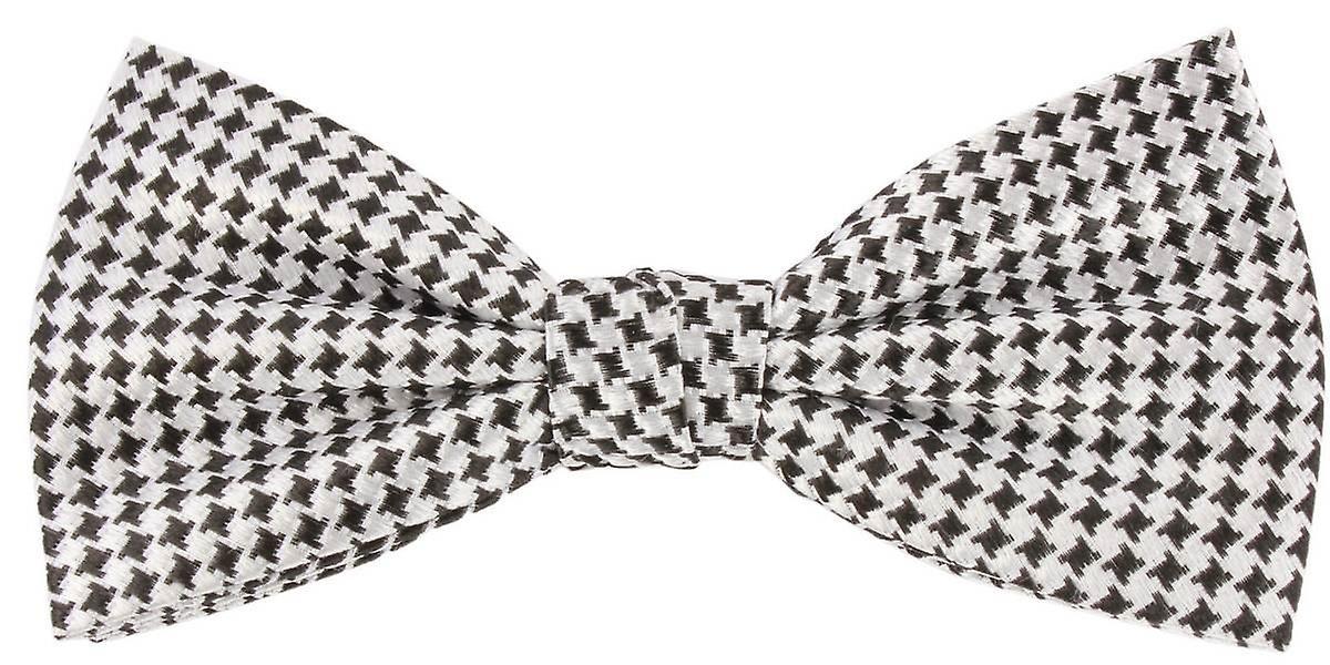 Knightsbridge cravates Dogtooth Checked Silk Bow cravate - noir blanc