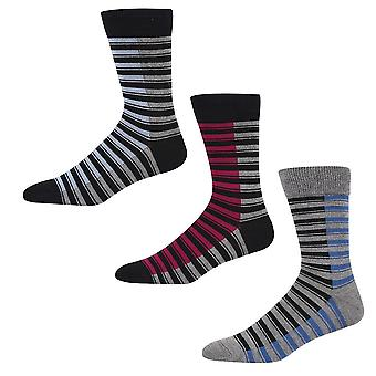 Ben Sherman Men's 3 Pack Everyday Calf  Socks Black Charcoal Blue Stripe Chaucer