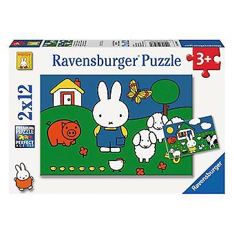 Ravensburger Puzzle Miffy nos pedaços de animais 2 x 12