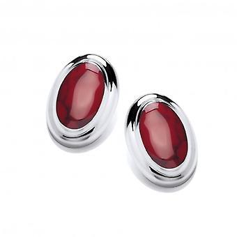 Cavendish fransk stor og fed rød Jasper knap øreringe