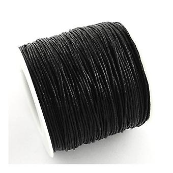 1 x svart vaxad bomull 5 m x 1 mm Thong sladd kontinuerlig längd Y06370