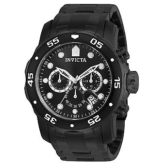 Invicta Pro Diver Black Stainless Steel Chronograph Mens Watch 0076