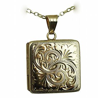 9ct Gold 22mm flat square hand engraved Locket with a belcher Chain 24 inches