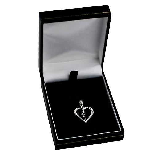 Silver heart Pendant with a hanging Initial T