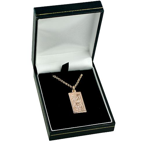 9ct Rose Gold 26x13mm rectangular St Christopher with belcher Chain 16 inches Only Suitable for Children