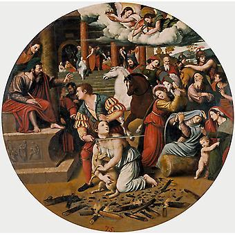 Martyrdom of St.Agnes,Juan Vicente Masip,50x50cm