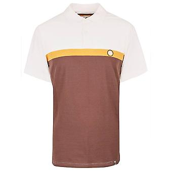Pretty Green Brown Colour Block Polo Shirt