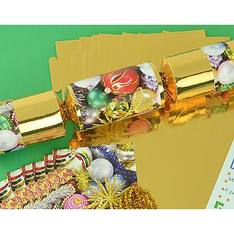 8 Gold Foil Traditional Christmas Make & Fill Your Own Crackers Kit