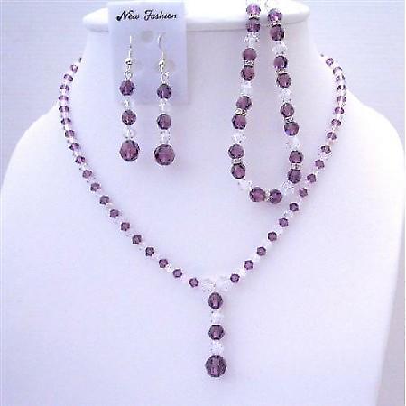 Custom Swarovski Amethyst Clear Crystals Necklace Earring Bracelet Set