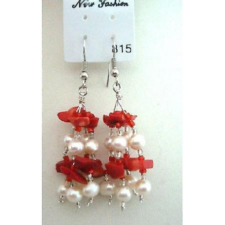 Coral Beads & Freshwater Pearl w/ Glass Beads Dangling Earrings