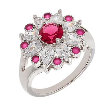 Bertha Juliet Collection Women's 18k WG Plated Red Floral Statement Fashion Ring Size 6