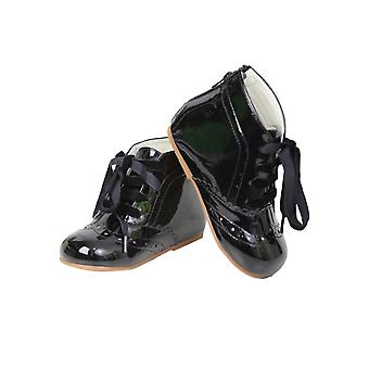 Baby Girls Spanish Romany Style Patent Ribbon Lace up Ankle Boots