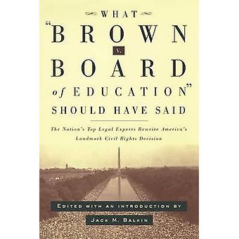 Hvad brun V. Board of Education burde Have sagt nationer øverste juridiske eksperter omskrive Americas Landmark borgerrettigheder beslutning af Papas & Phillip