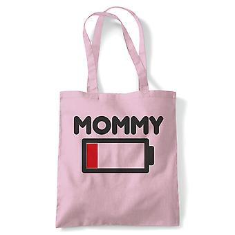 Mommy Low Battery Funny Tote | Reusable Shopping Cotton Canvas Long Handled Natural Shopper Eco-Friendly Fashion | Gym Book Bag Birthday Present Gift Her | Multiple Colours Available