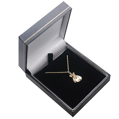 9ct Gold 14x11mm Teddy Bear Pendant with a cable Chain 16 inches Only Suitable for Children
