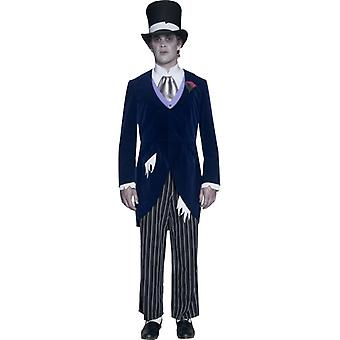 Costume spirits zombie groom from the scary castle with Tuxedo pants tie and hat