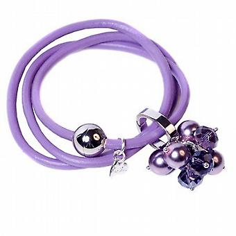 Kleshna Lilac Rhinestone & Simulated Pearl Charm Leather Adjustable Bracelet