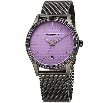 Akribos XXIV Women's Quartz Swarovski Accented Mesh Bracelet Watch AK967GNPU