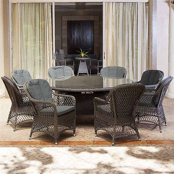 Alexander Rose Monte Carlo 8 Seat Dining Set - Open Weave Chair