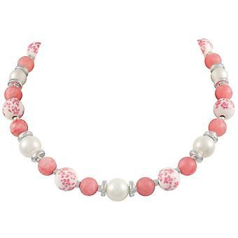 Eternal Collection Meadow Coral Pink Floral Silver Tone Beaded Necklace