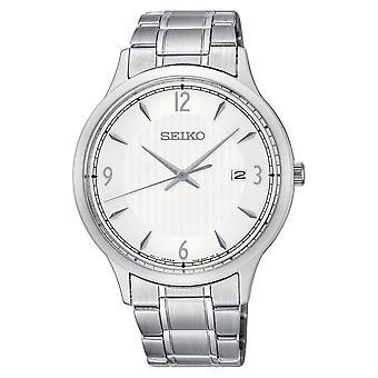 Heren quartz uurwerk roestvrijstaal armband horloge met witte wijzerplaat (SGEH79P1)