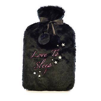 Plush Black Faux Fur 2L Hot Water Bottle: Love to Sleep