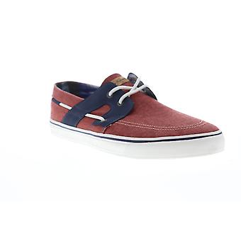 Tommy Bahama Stripes Asunder TB7F10147 Mens Red Canvas Deck Casual Boat Shoes
